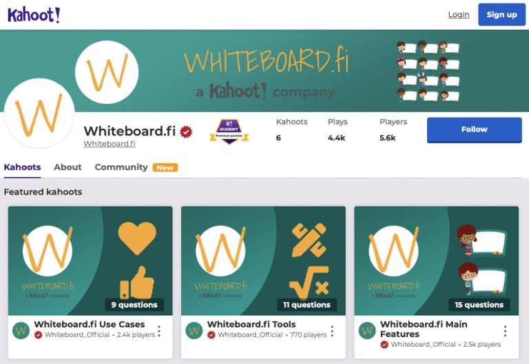 Have you played the Whiteboard.fi Kahoot!'s yet?